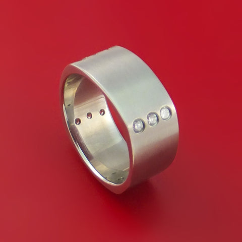 Titanium Square Ring with 12 Diamonds Custom Made Band