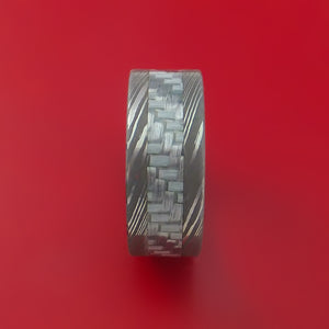 Damascus Steel Ring with Silver Carbon Fiber Inlay and Interior Anodized Titanium Sleeve Custom Made Band