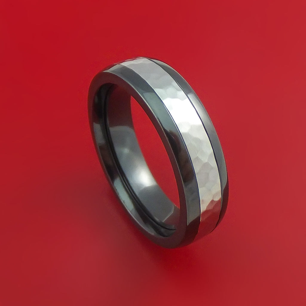 Black Zirconium Ring with Cobalt Chrome Inlay Custom Made Band