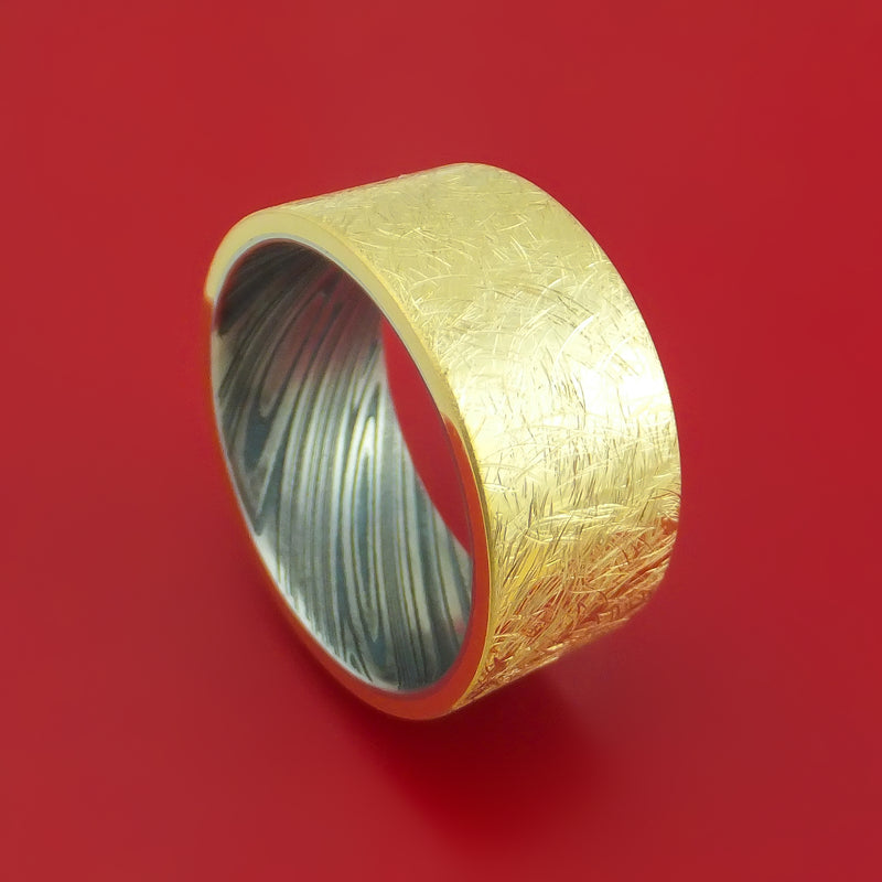 Wide 14k Yellow Gold Ring with Interior Kuro Damascus Sleeve Custom Made Band