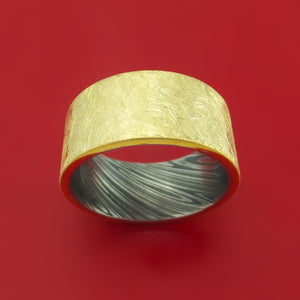 14K Yellow Gold Distressed Band with Kuro Damascus Steel Sleeve Custom Made Ring