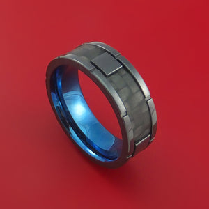 Black Zirconium Ring with Segmented Black Carbon Fiber Inlay and Interior Anodized Sleeve Custom Made Band