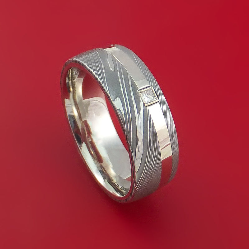 Damascus Steel and 14K White Gold Ring with Diamond Custom Made Band