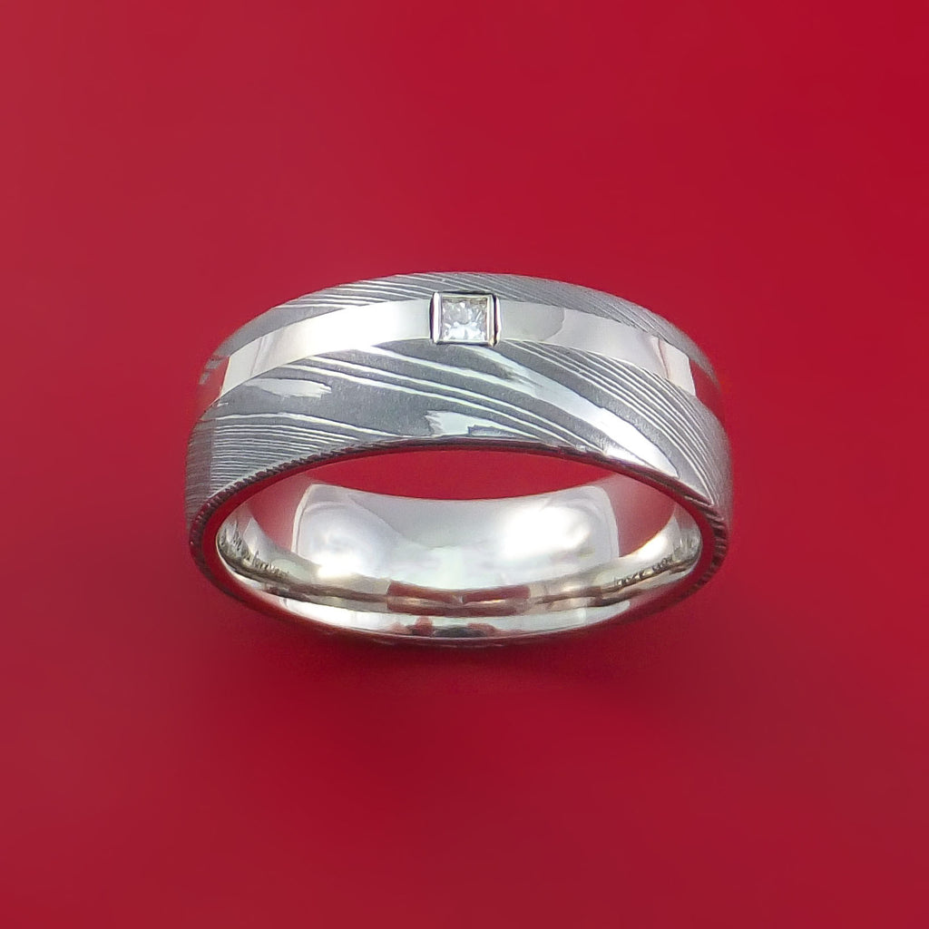 Damascus Steel and 14K White Gold Ring with Diamond Custom Made Band by Stonebrook Jewelry