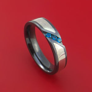Black Zirconium Ring with Palladium and Silver Mokume and Blue Sapphires