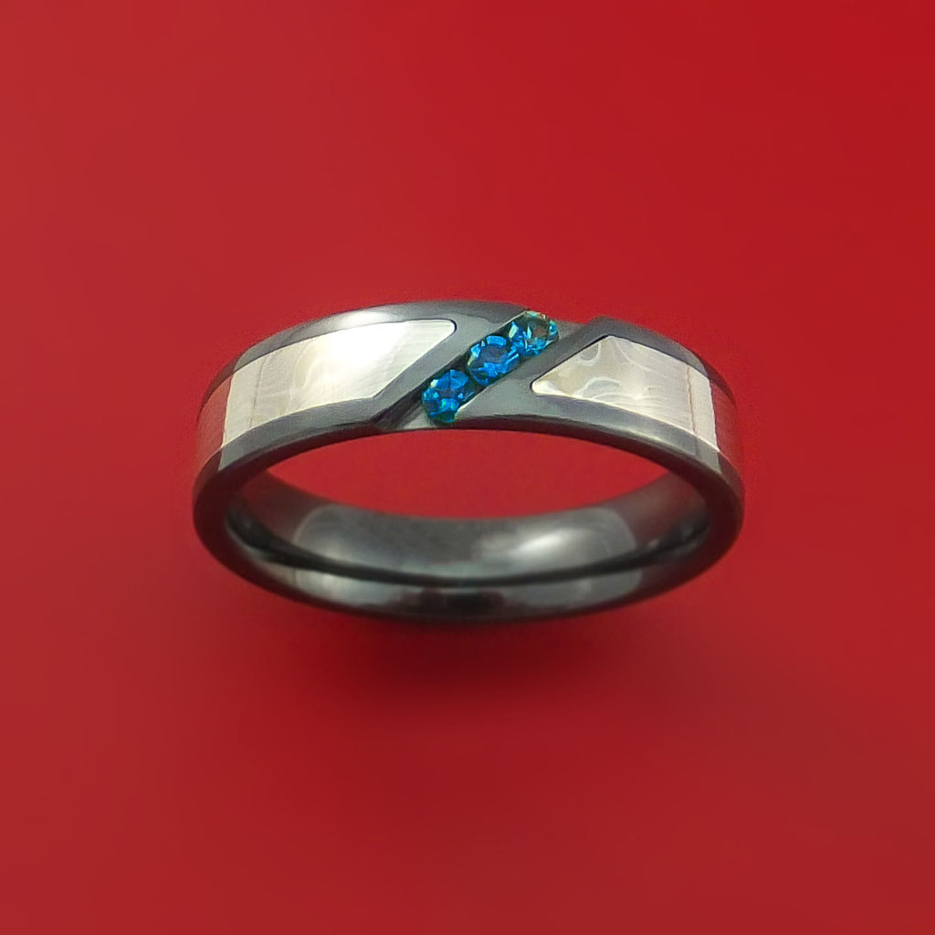 Black Zirconium Ring with White Gold Mokume and Blue Sapphires by Stonebrook Jewelry