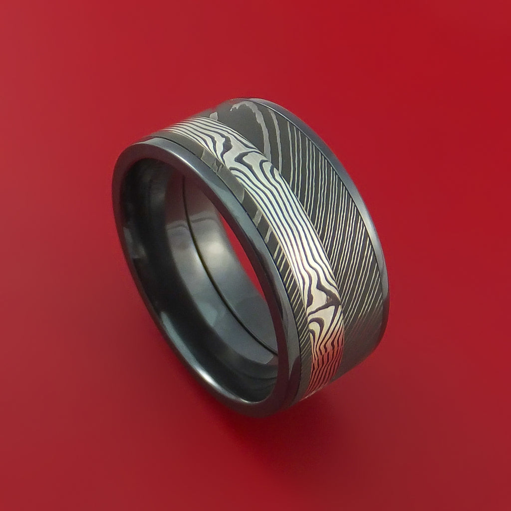Wide Black Zirconium Ring with Damascus Steel and Silver Mokume Shakudo Inlays Custom Made Band
