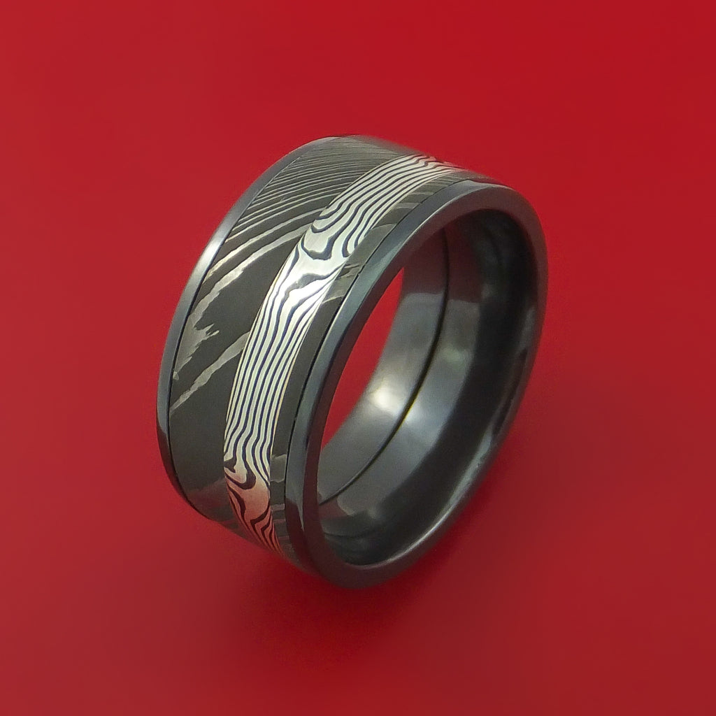 Black Zirconium and Damascus Steel Band with Silver Mokume Gane Custom Made Ring by Stonebrook Jewelry