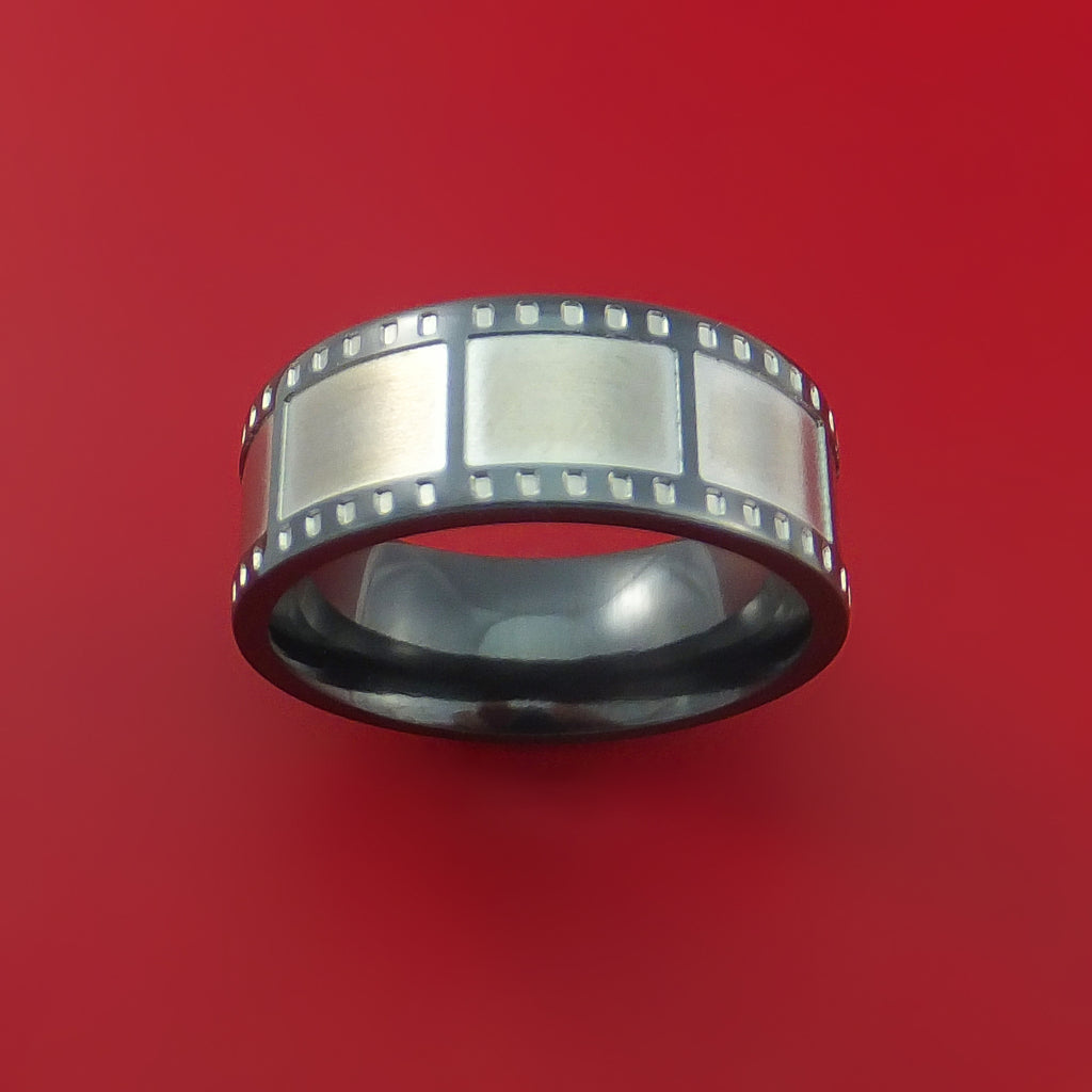 Black Zirconium Film Strip Ring Custom Made Band