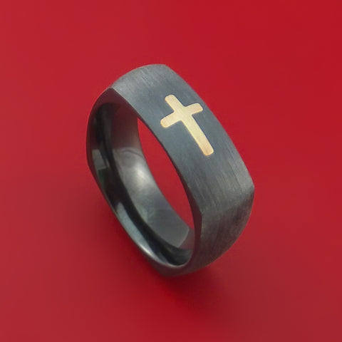 Black Zirconium and 14K Yellow Gold Christian Cross Ring Custom Made Band