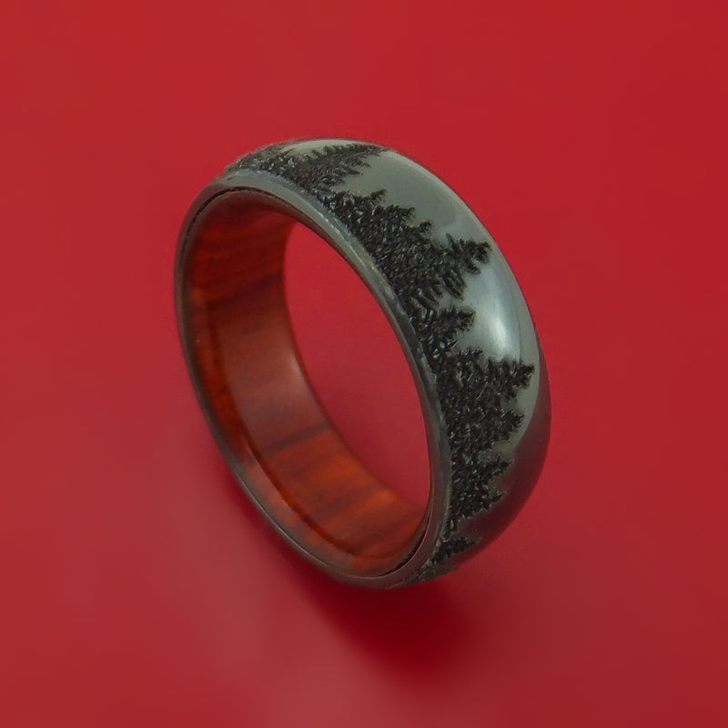 Black Zirconium Ring with Pine Tree Design Inlay and Interior Hardwood Sleeve Custom Made Band