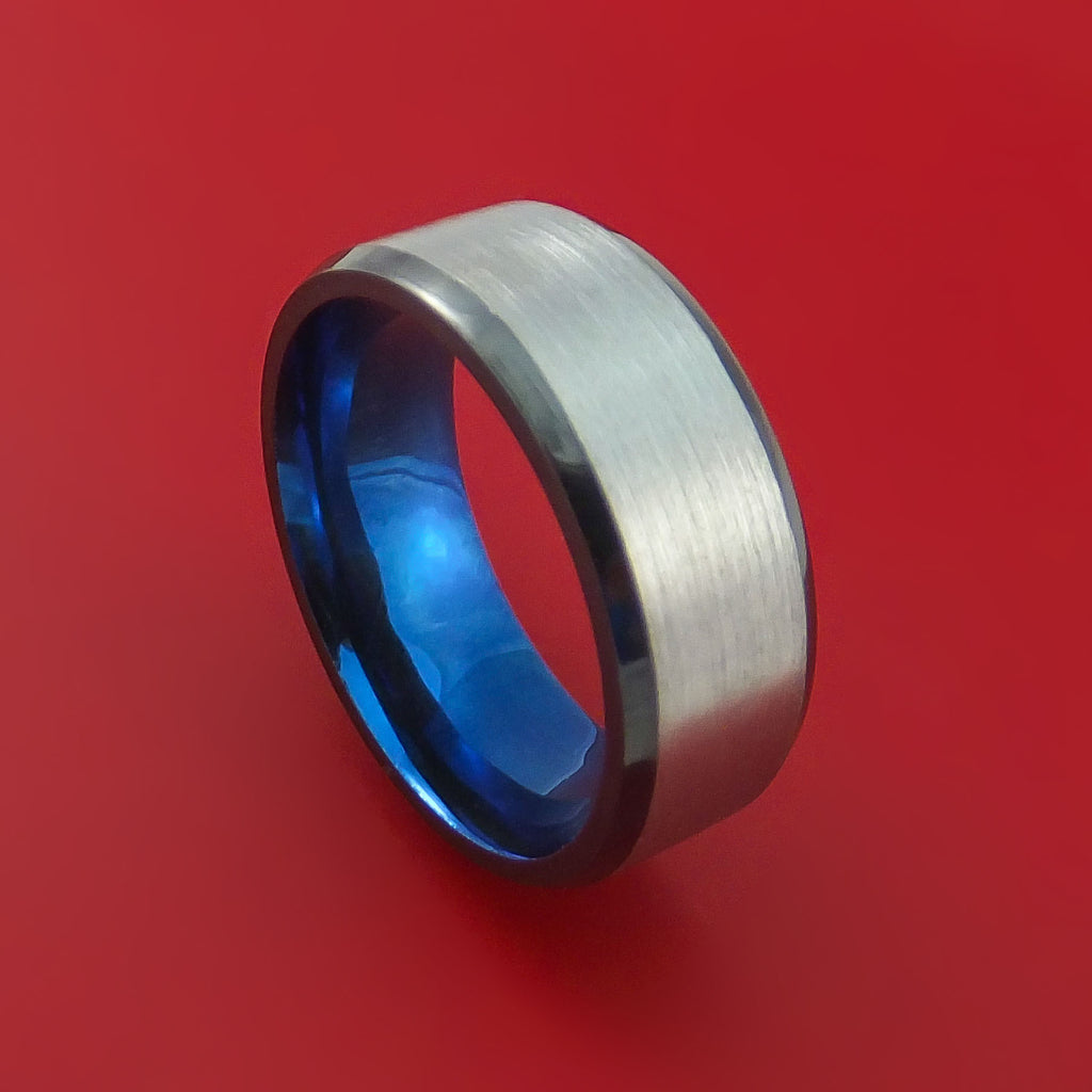 Black Zirconium Ring Traditional Style Band with Anodized Interior Made to Any Sizing and Finish by Stonebrook Jewelry
