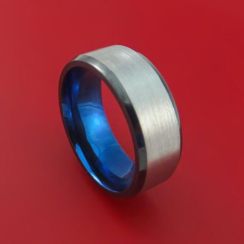 Black Zirconium Ring Traditional Style Band with Anodized Interior Made to Any Sizing and Finish