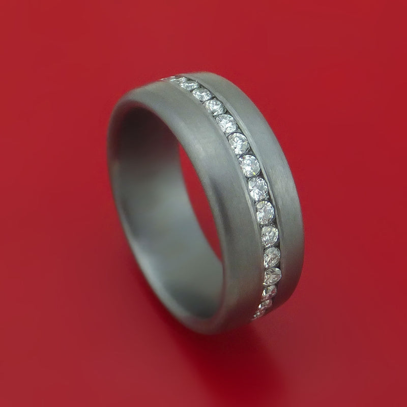 Tantalum Band with Satin Finish and Diamonds Custom Made Ring