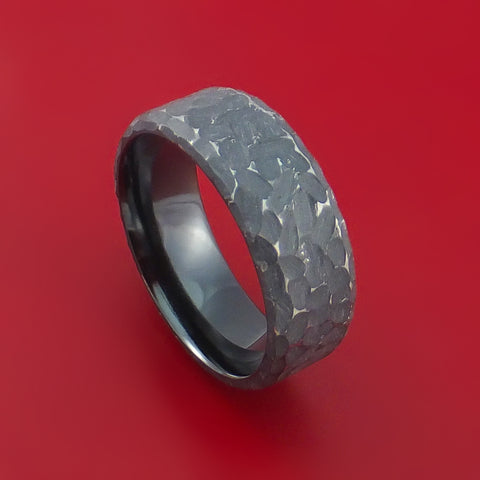 Black Zirconium Ring Traditional Style Band Hammered and Distressed Finish Custom Made