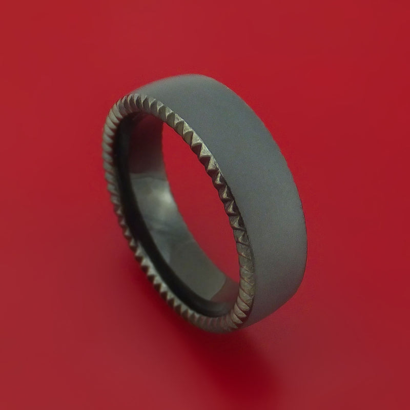 Blackened Tantalum Coin Edge Band Custom Made Ring