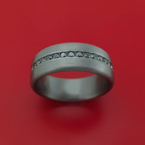 Tantalum Band with Satin Finish and Black Diamonds Custom Made Ring