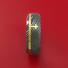 Damascus Steel Ring with 14k Yellow Gold and 14k Yellow Gold Cross Inlays Custom Made Band
