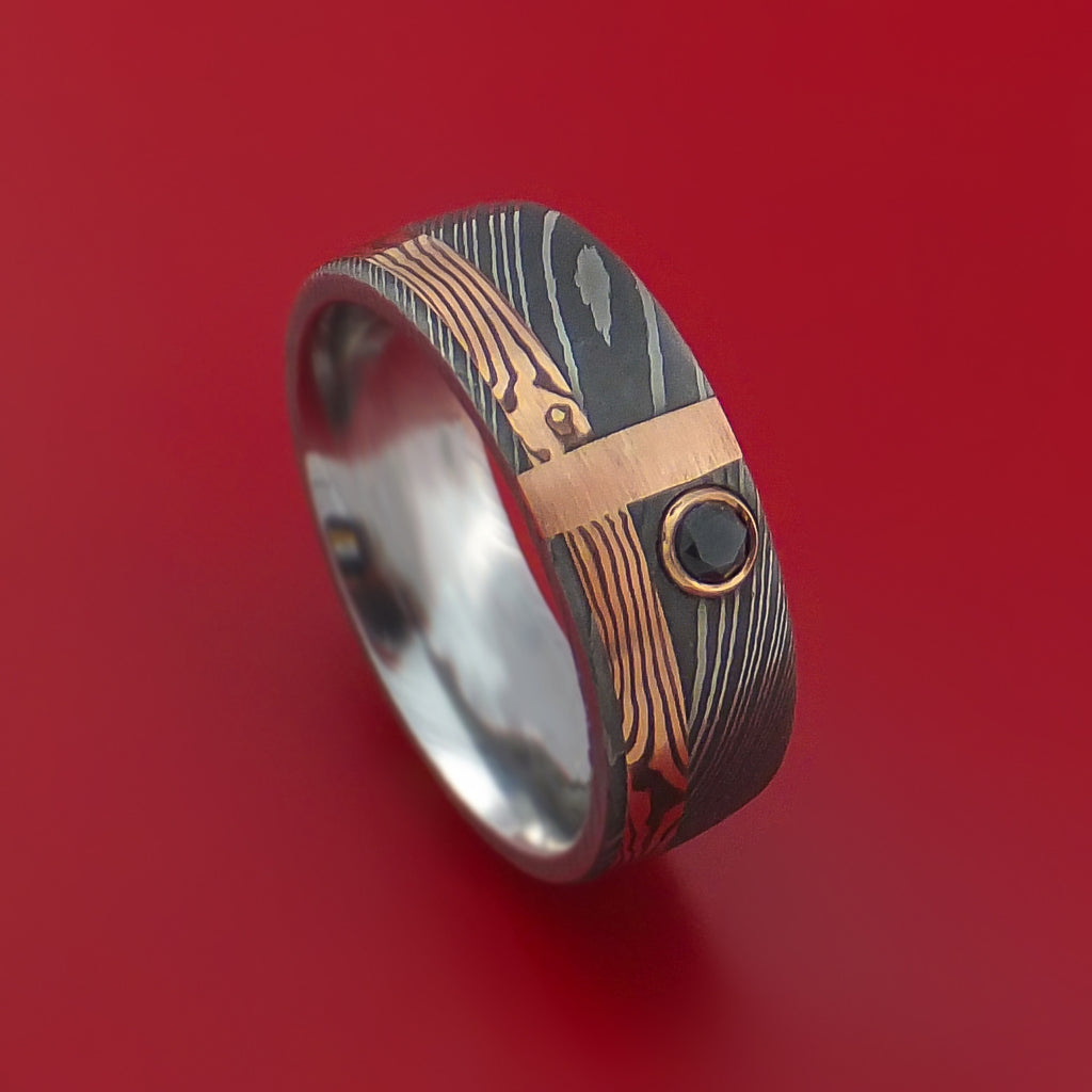 Damascus and 14k ROSE Mokume Gane Shakudo and 14k Gold with Black Diamond Custom Made Band by Stonebrook Jewelry