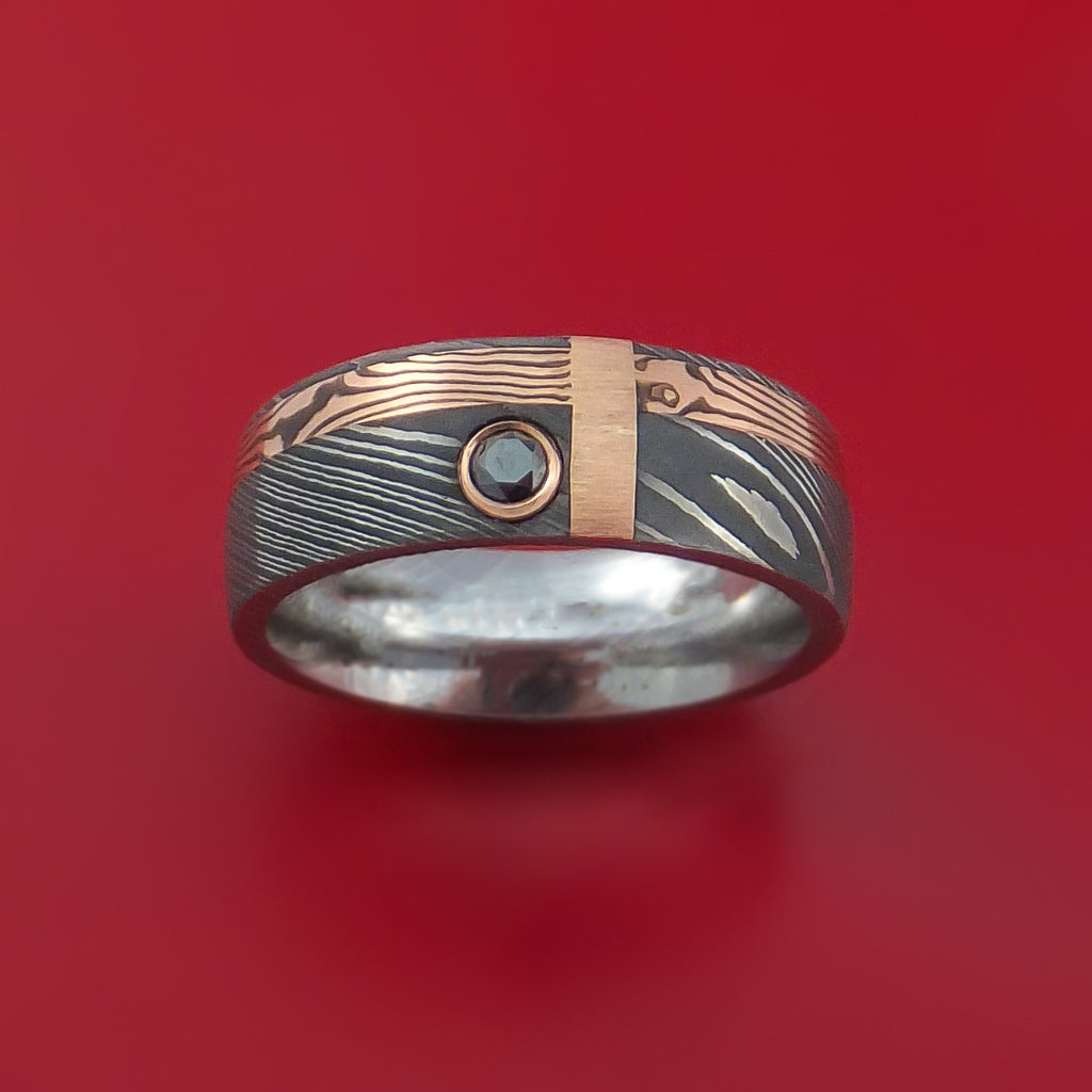 Damascus and 14k ROSE Mokume Gane Shakudo and 14k Gold with Black Diamond Custom Made Band - Stonebrook Jewelry  - 2