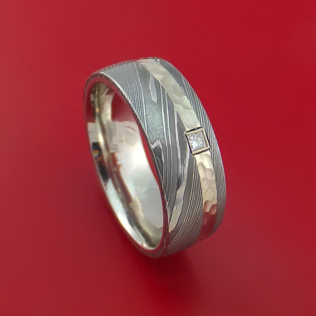 Damascus Steel and Hammered 14K White Gold Ring with Diamond Custom Made Band