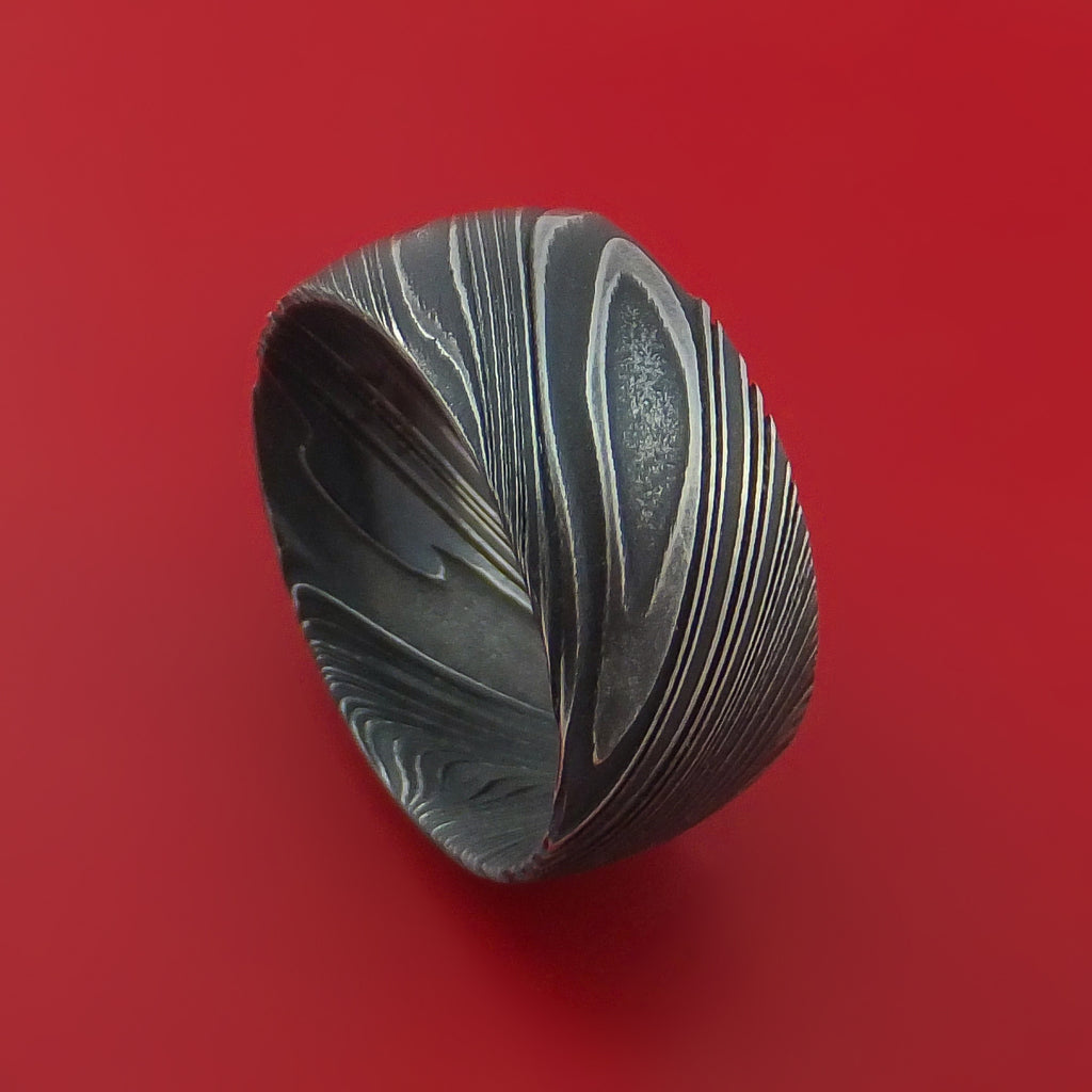 Wide Kuro Damascus Steel Ring Custom Made Band