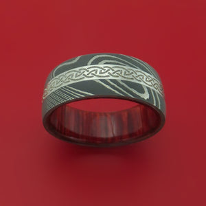 Damascus Steel Ring with Platinum and Infinity Knot Etched Celtic Design Inlays and Interior Hardwood Sleeve Custom Made Band