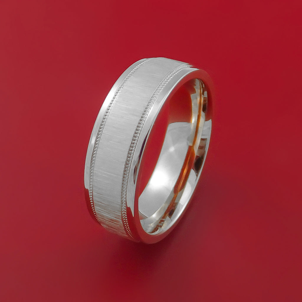 14K White Gold Classic Millgrain Style Wedding Band Custom Made by Stonebrook Jewelry