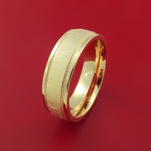 14K White Gold Classic Millgrain Style Wedding Band Custom Made