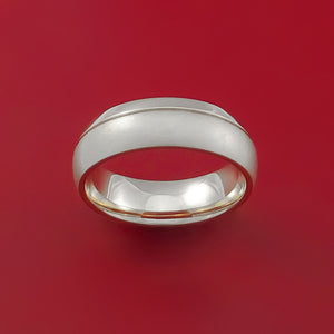 14K Rose Gold Classic Style Band with Two-Tone Finish Custom Made Ring