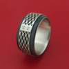 14K White Gold With Carbon Fiber Custom Made Band