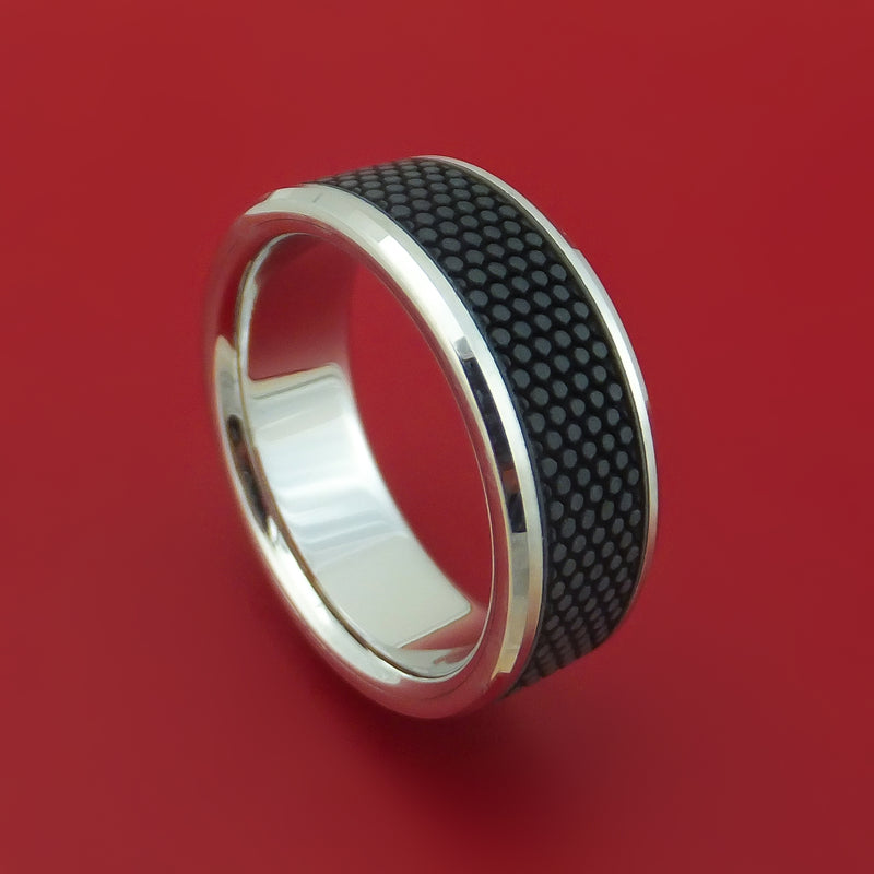 14K White Gold Ring With Patterned Carbon Fiber Custom Made Band