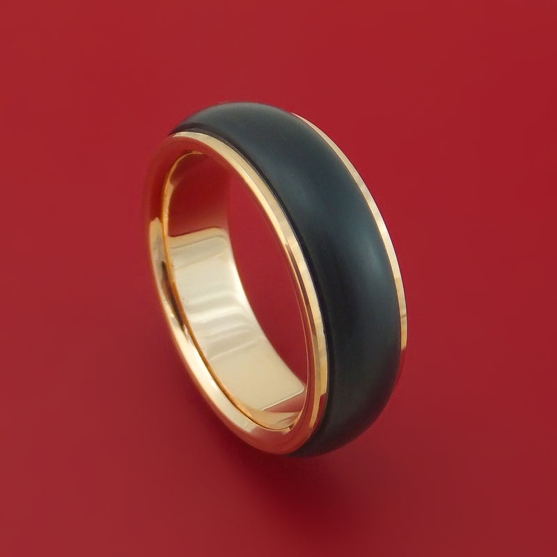 14K Rose Gold Ring With Carbon Fiber Custom Made Band