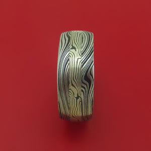 Marble Kuro Damascus Steel and Mokume Band with Wood Sleeve Custom Made