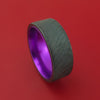 Black Zirconium with Tree Bark Finish and Purple Anodized Sleeve Custom Made Band Choose Your Color