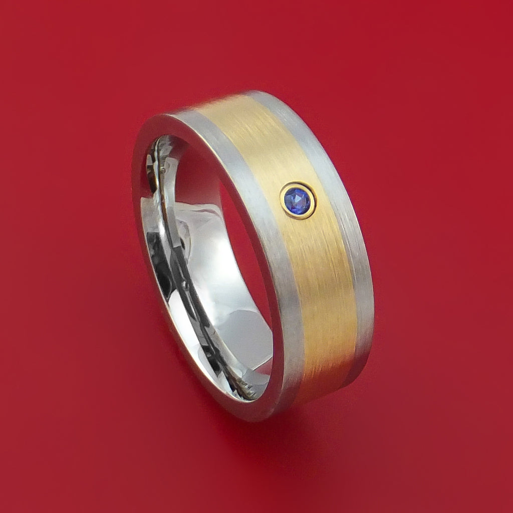 Titanium and 14K Yellow Gold Ring with Chatham Sapphire Custom Made Band by Stonebrook Jewelry