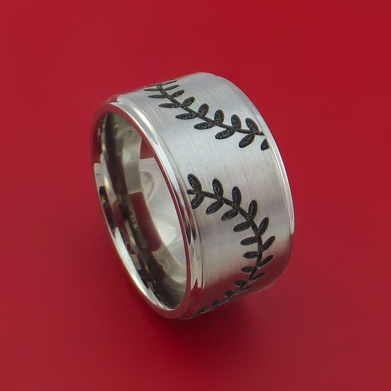Wide Cobalt Chrome Ring with Baseball Dual Stitching and Cerakote Inlays Custom Made Band