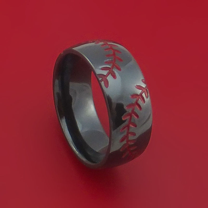 Black Zirconium Ring with Baseball Dual Stitching and Cerakote Inlays Custom Made Band