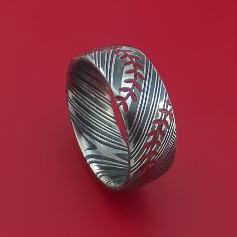Kuro Damascus Steel Double Stitch Baseball Ring with Acid Finish