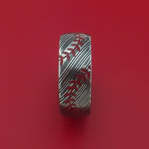 Kuro Damascus Steel Ring with Baseball Dual Stitching and Cerakote Inlays Custom Made Band