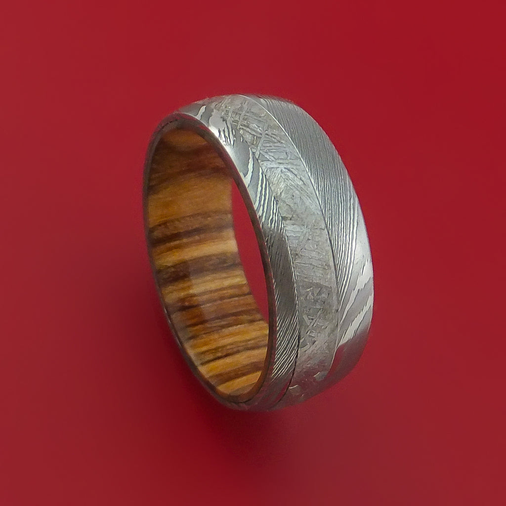 Damascus Steel and Gibeon Meteorite Band with Apple Wood Hardwood Sleeve Custom Made Band by Stonebrook Jewelry