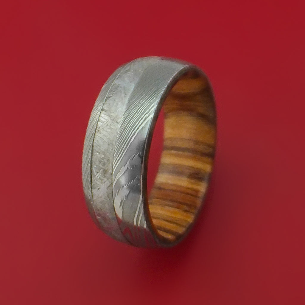 Damascus Steel and Gibeon Meteorite Band with Apple Wood Hardwood Sleeve Custom Made Band - Stonebrook Jewelry  - 4