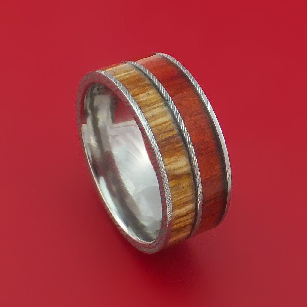 Damascus Steel Ring with Teak and Red Heart Hardwood Inlays Custom Made Band
