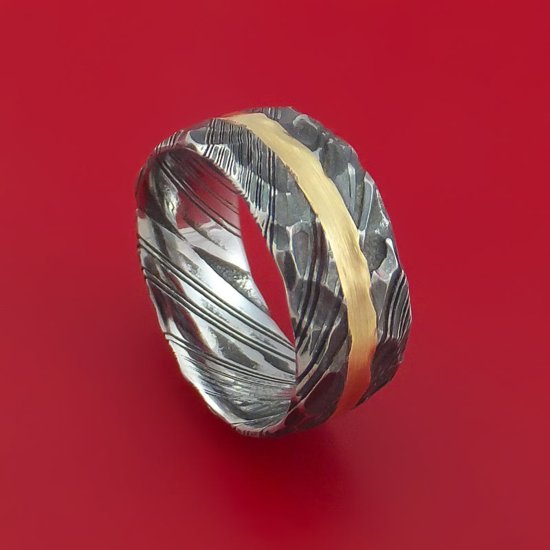 Kuro Damascus Steel Ring and 14k Yellow Gold Hammered Wedding Band Genuine Craftsmanship Custom Made