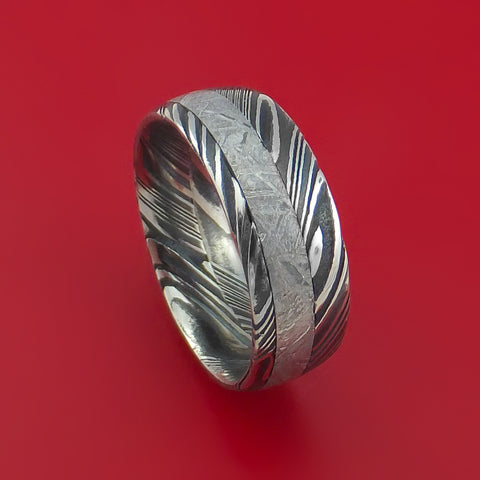 Gibeon Meteorite in Kuro Damascus Steel Wedding Band Made to any Size and Width