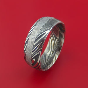 Kuro Damascus Steel Ring with Gibeon Meteorite Inlay Custom Made Band