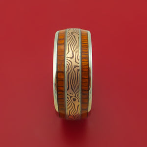 14K White Gold Ring with Wood Inlays and Mokume Custom Made Band