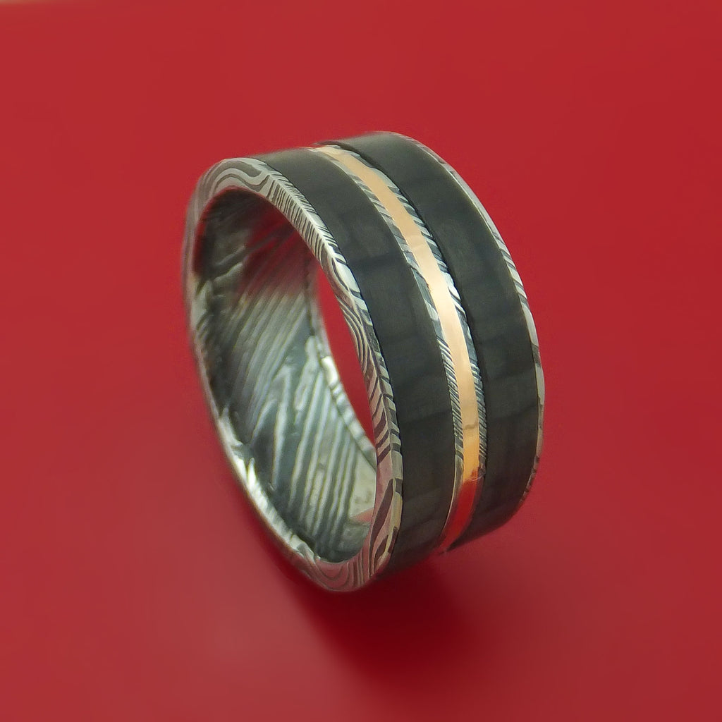 Kuro Damascus Steel Carbon Fiber and Gold Ring Custom Made Band
