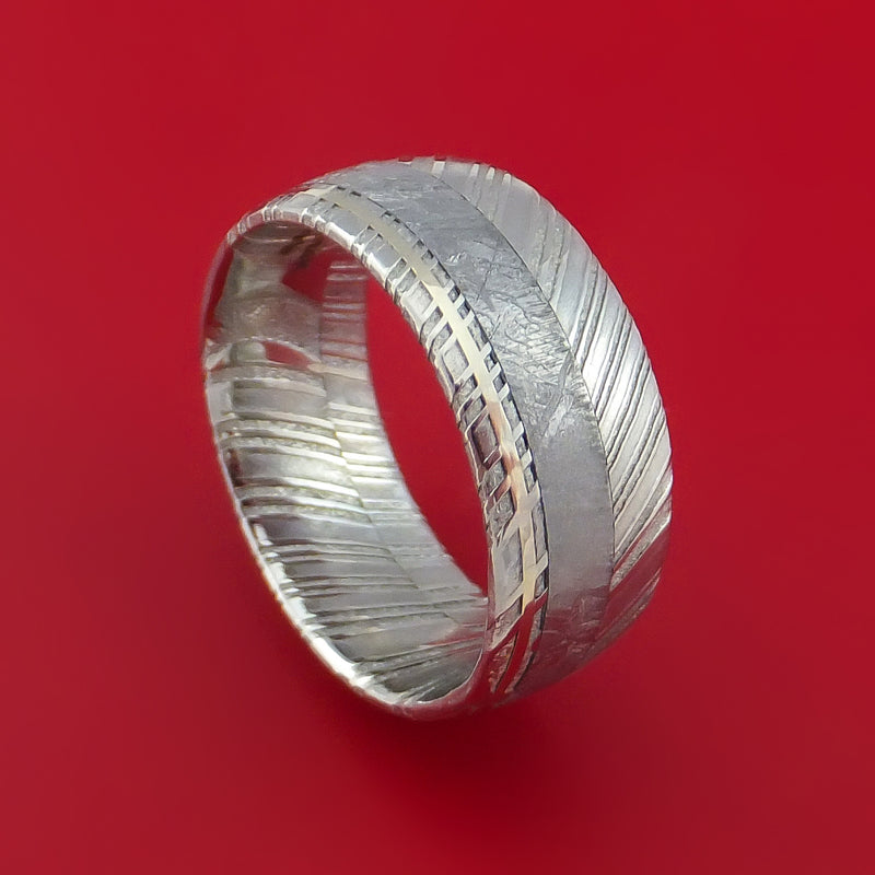 Kuro Damascus Steel Ring and Gibeon Meteorite with 14k White Gold Wedding Band Custom Made
