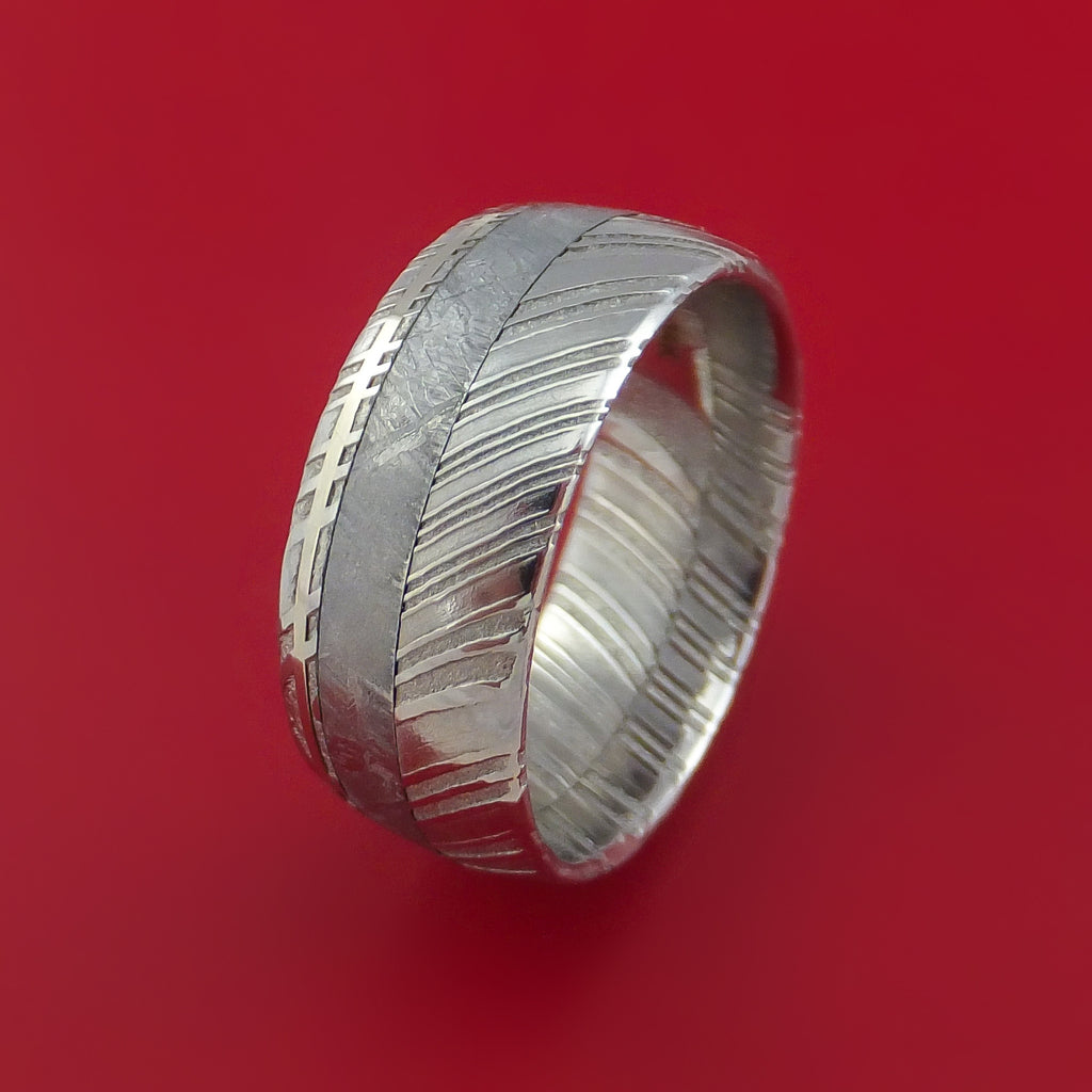 Kuro Damascus Steel Ring and Gibeon Meteorite with 14k White Gold Wedding Band Custom Made by Stonebrook Jewelry